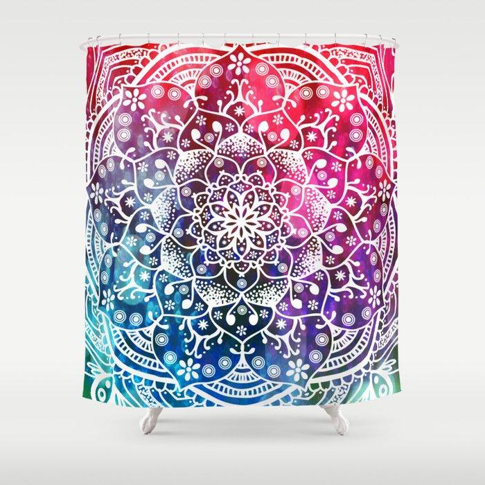 Namaste Red Purple Blue Mandala Shower Curtain