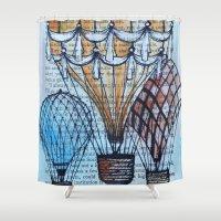 hot air balloons Shower Curtains featuring Hot Air Balloons by Sarah Ridings