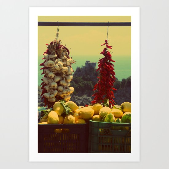 Garlic, Peppers & Lemons in Amalfi, Italy Art Print