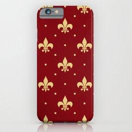 Fleur De Lis design - red iPhone Case