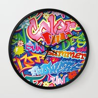 graffiti Wall Clocks featuring Graffiti by Helene Michau