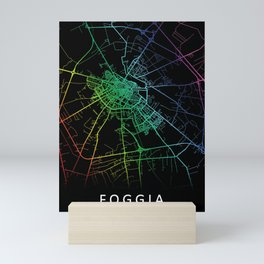 Foggia, Italy, City, Map, Rainbow, Map, Art, Print Mini Art Print