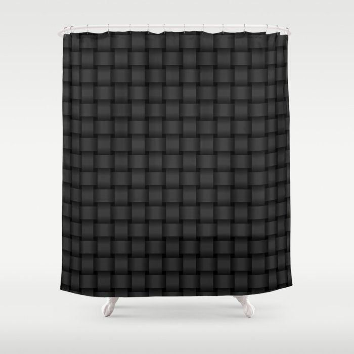 Small Black Weave Shower Curtain