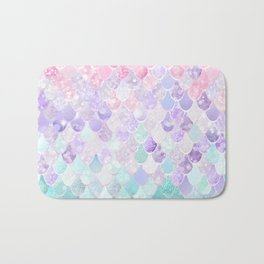 Cute Mermaid Pattern, Light Pink, Purple, Teal Bath Mat