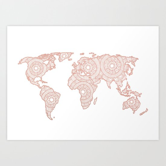 Rose gold mandala world map art print by julieerindesigns society6 gumiabroncs Images