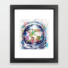 astronaut world map colorful Framed Art Print