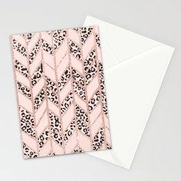 Rose gold glitter chevron herringbone blush pink leopard pattern Stationery Cards