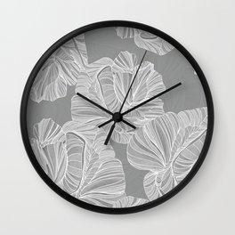 Gray Roses Pattern  Wall Clock