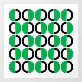 Mid Century Modern Half Circle Pattern 567 Green and Black Art Print