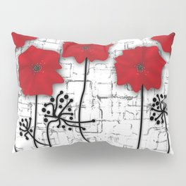 Poppies red n white background . Pillow Sham