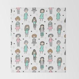 Girls illustration little women cute pattern kids rooms children gifts Throw Blanket