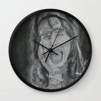 tyler spangler Wall Clocks featuring Steven Tyler by Jenn
