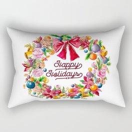 Christmas Wreath Painting Illustration Design Rectangular Pillow