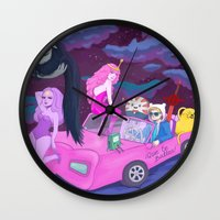 lumpy space princess Wall Clocks featuring Adventure in lumpy space by Sara Meseguer