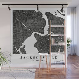 Jacksonville Florida Minimal Black Mono Street Map Wall Mural