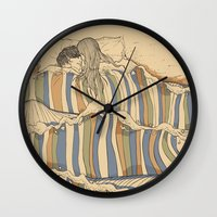 swimming Wall Clocks featuring Ocean of love by Huebucket