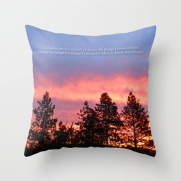 Serenity  Prayer Sunrise Blue Orange Throw Pillow