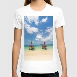 Long tail boats on the beach in Thailand T-shirt