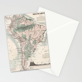Vintage Map of South America (1858) Stationery Cards