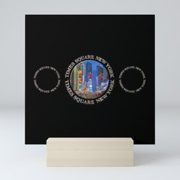 Times Square Broadway NYC (triple emblem on black) Mini Art Print
