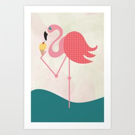 Flamingo has an ice cream Art Print