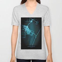 Corpus Christi, TX, USA, Blue, White, Neon, Glow, City, Map Unisex V-Neck