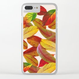 Fall Autumn Feathers Leaves Clear iPhone Case