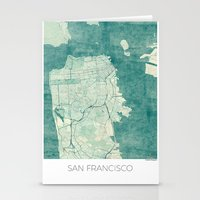 san francisco map Stationery Cards featuring San Francisco Map Blue Vintage  by City Art Posters