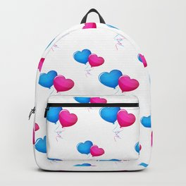 Blue and ed balloon hearts Backpack