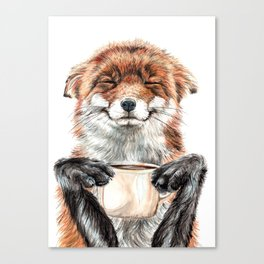 """ Morning fox "" Red fox with her morning coffee Canvas Print"