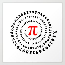 Pi, π, spiral science mathematics math irrational number Art Print