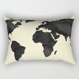 World Continents Map Black on Linen Rectangular Pillow