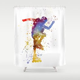 Man roller skater inline 02 in watercolor Shower Curtain