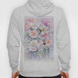 White Wild Roses Watercolor painting White Pink Rose Flower Bouquet Wedding decor Hoody