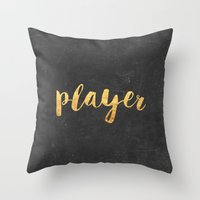 2pac Throw Pillows featuring Player by Text Guy
