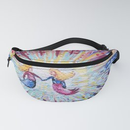"""""""Mermaid Sisters Floating to the Sun"""" Acrylic Painting Fanny Pack"""