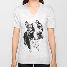 Ollie the Boston Terrier Unisex V-Neck