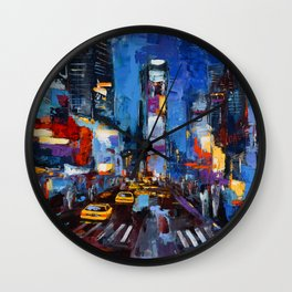 Saturday Night in Times Square Wall Clock