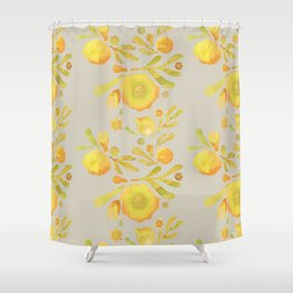 Granada Floral in Yellow on grey Shower Curtain