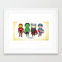 super heroes Framed Art Prints featuring Super Cute Heroes: Avengers! by Kayla Dolby