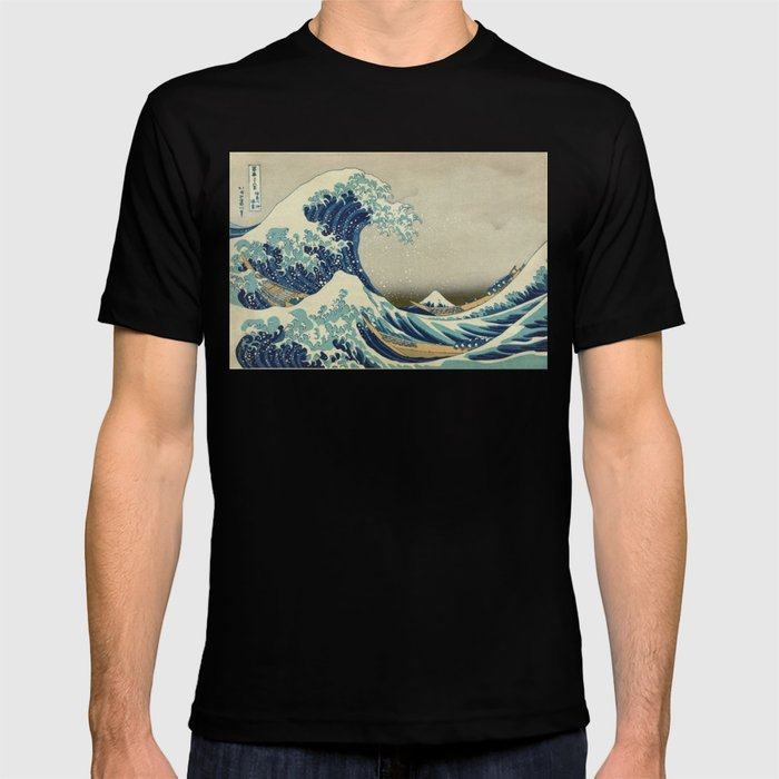 Illustration of blue japanese wave T-shirt