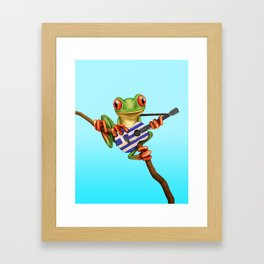 Tree Frog Playing Acoustic Guitar with Flag of Greece Framed Art Print