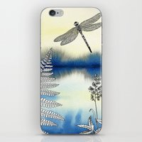 dragonfly iPhone & iPod Skins featuring Dragonfly by Alibabaform