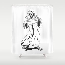 Grim reaper holding an hourglass -  black and white Shower Curtain