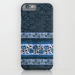 Blue Hawaiian Floral Tapa iPhone Case