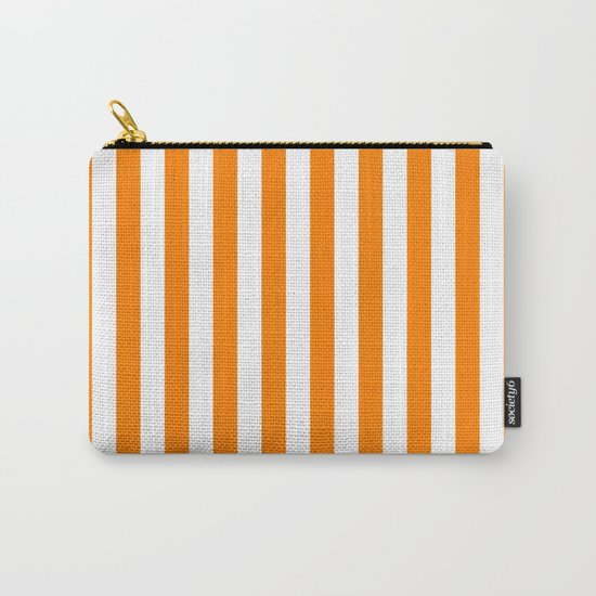 Vertical Stripes (Orange/White) Carry-All Pouch