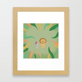 Girl and the lion Framed Art Print