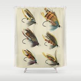 Salmon Fly Fishing - Salmon Flies Art Shower Curtain