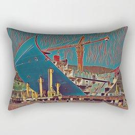 South Korea Maersk Building Artistic Illustration Marsh Style Rectangular Pillow