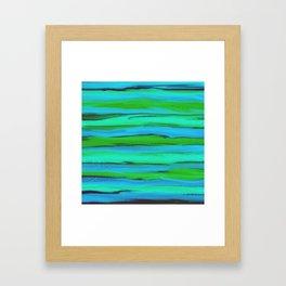 Apple Green, Seafoam, and Azure Blue Stripes Abstract Framed Art Print